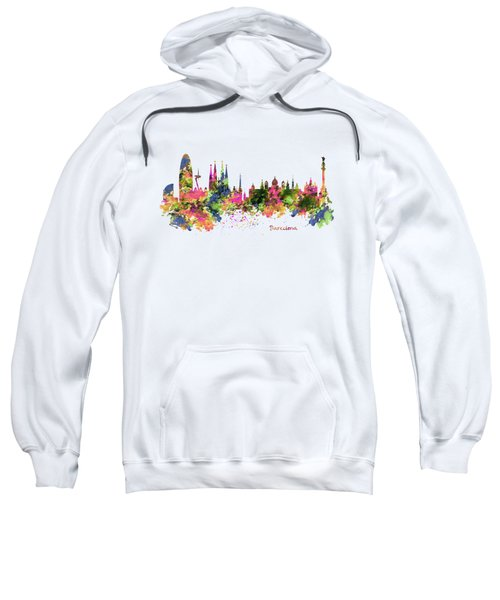 Barcelona Watercolor Skyline Sweatshirt by Marian Voicu