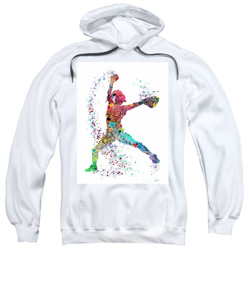 Baseball Softball Pitcher Watercolor Print Sweatshirt by Svetla Tancheva