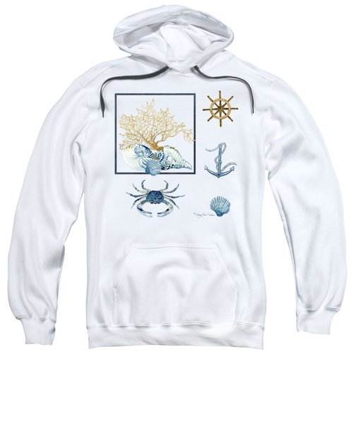 Beach House Nautical Seashells Ships Wheel Anchor N Crab Sweatshirt by Audrey Jeanne Roberts