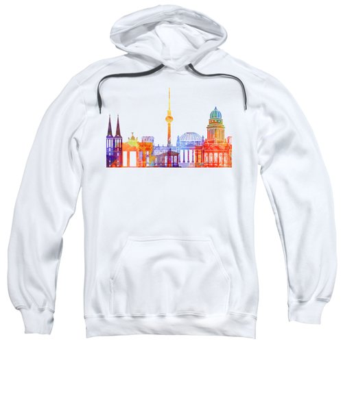 Berlin Landmarks Watercolor Poster Sweatshirt by Pablo Romero