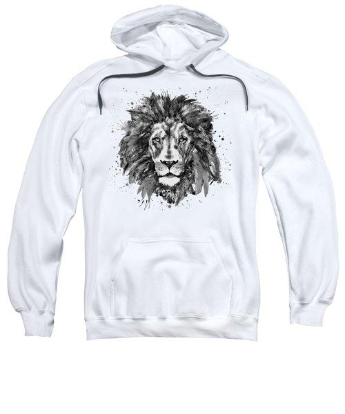 Black And White Lion Head  Sweatshirt by Marian Voicu