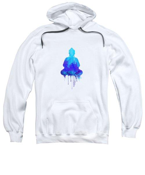 Blue Buddha Watercolor Painting Sweatshirt by Thubakabra