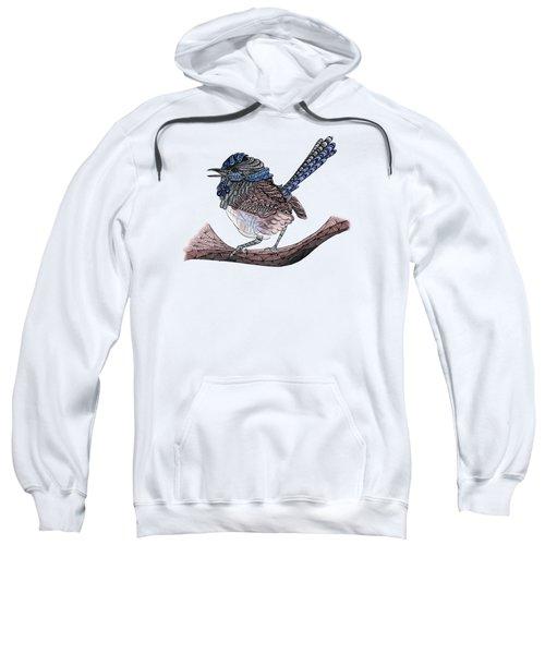 Blue Zen Wren Paisley Bird Sweatshirt by Lorraine Kelly