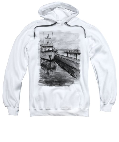 Boat On Waterfront Marina Kirkland Washington Sweatshirt by Olga Shvartsur