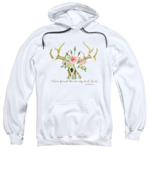 Boho Love - Deer Antlers Floral Inspirational Sweatshirt by Audrey Jeanne Roberts