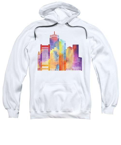 Boston Landmarks Watercolor Poster Sweatshirt by Pablo Romero