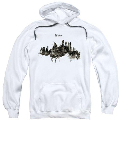 Boston Skyline Black And White Sweatshirt by Marian Voicu