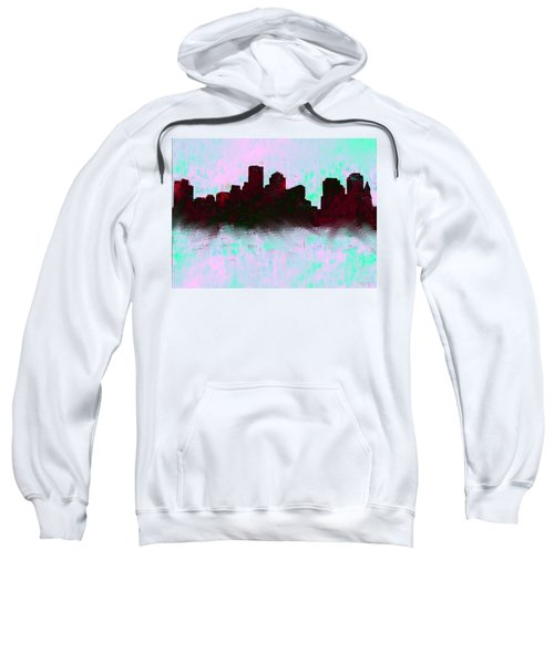 Boston Skyline Sky Blue  Sweatshirt by Enki Art