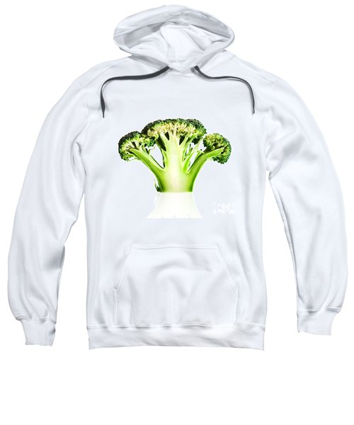 Broccoli Cutaway On White Sweatshirt by Johan Swanepoel