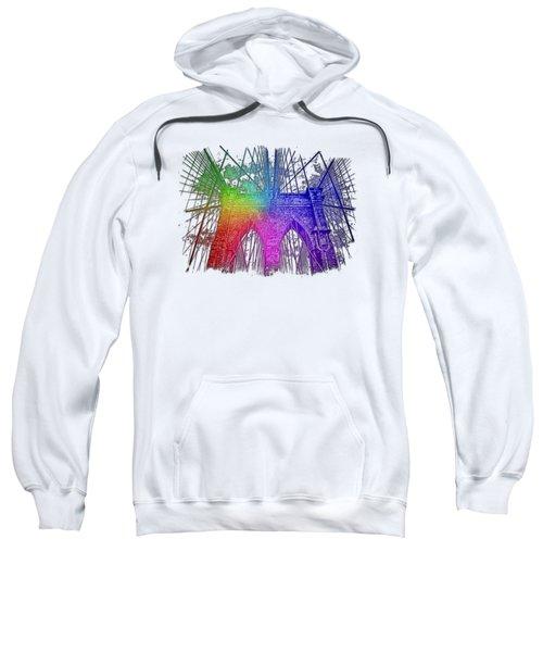 Brooklyn Bridge Cool Rainbow 3 Dimensional Sweatshirt by Di Designs