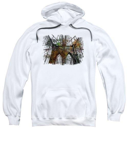 Brooklyn Bridge Muted Rainbow 3 Dimensional Sweatshirt by Di Designs