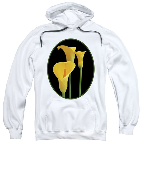 Calla Lilies - Yellow On Black Sweatshirt by Gill Billington
