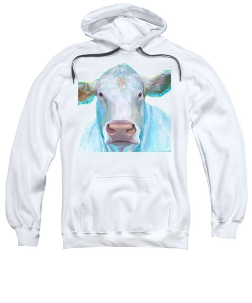 Charolais Cow Painting On White Background Sweatshirt by Jan Matson