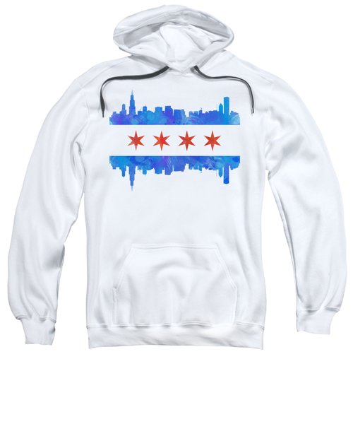 Chicago Flag Watercolor Sweatshirt by Mike Maher