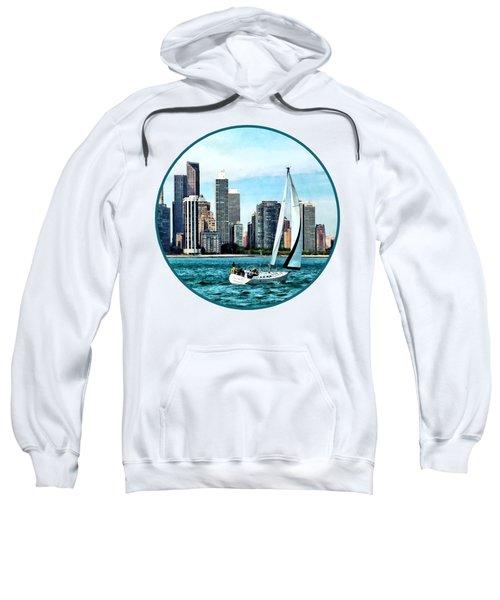 Chicago Il - Sailboat Against Chicago Skyline Sweatshirt by Susan Savad