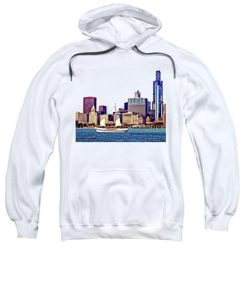 Chicago Il - Schooner Against Chicago Skyline Sweatshirt by Susan Savad
