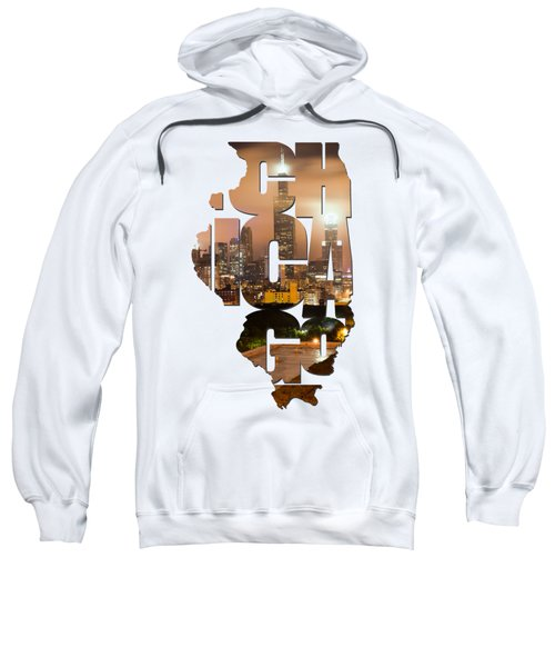 Chicago Illinois Typography - Chicago Skyline From The Rooftop Sweatshirt by Gregory Ballos