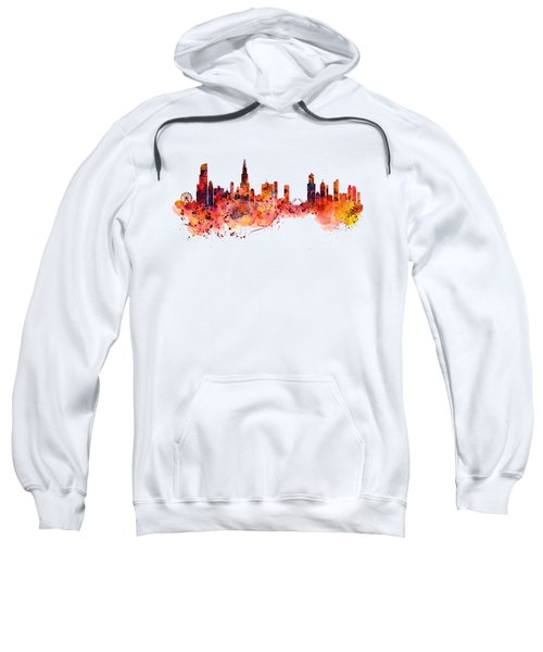 Chicago Watercolor Skyline Sweatshirt by Marian Voicu