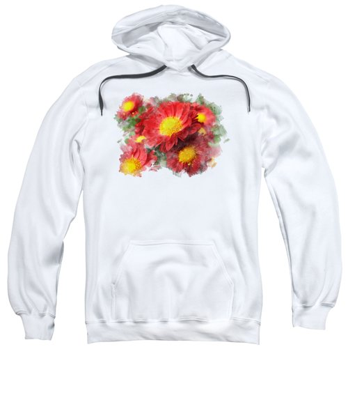 Chrysanthemum Watercolor Art Sweatshirt by Christina Rollo