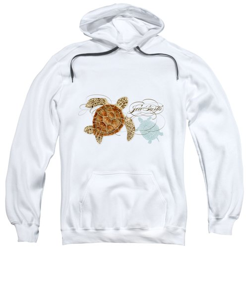 Coastal Waterways - Green Sea Turtle Rectangle 2 Sweatshirt by Audrey Jeanne Roberts