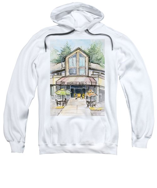 Coffee Shop Watercolor Sketch Sweatshirt by Olga Shvartsur