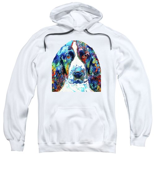 Colorful English Springer Spaniel Dog By Sharon Cummings Sweatshirt by Sharon Cummings