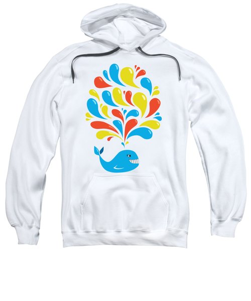 Colorful Swirls Happy Cartoon Whale Sweatshirt by Boriana Giormova