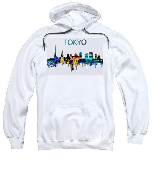Colorful Tokyo Skyline Silhouette Sweatshirt by Dan Sproul