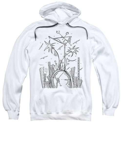 Coloring Page With Beautiful City Martini Drawing By Megan Duncanson Sweatshirt by Megan Duncanson