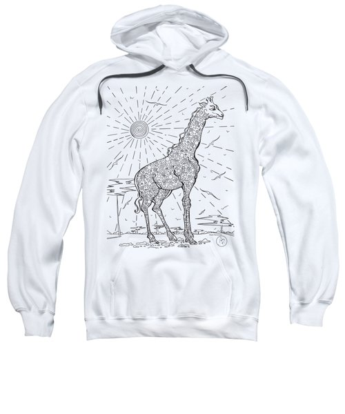 Coloring Page With Beautiful Giraffe Drawing By Megan Duncanson Sweatshirt by Megan Duncanson