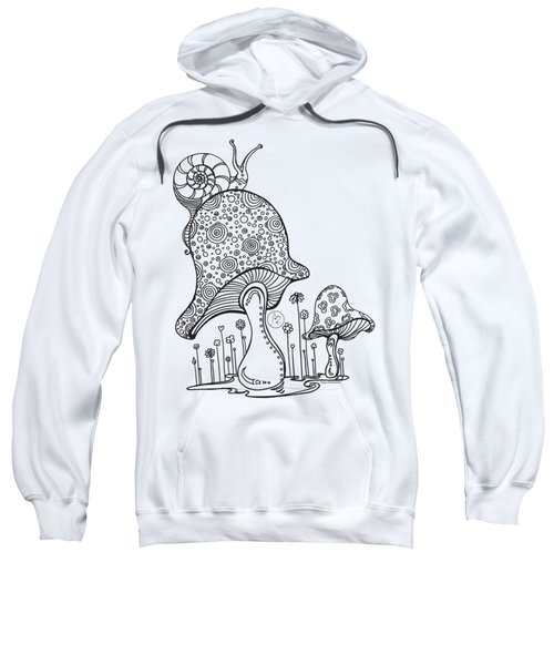 Coloring Page With Beautiful Mushroom And Snail Drawing By Megan Duncanson Sweatshirt by Megan Duncanson