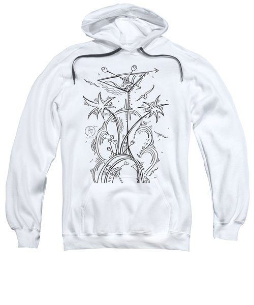 Coloring Page With Beautiful Tropical Martini Drawing By Megan Duncanson Sweatshirt by Megan Duncanson