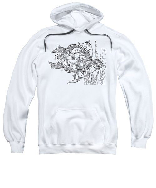 Coloring Page With Beautiful Turtle Drawing By Megan Duncanson Sweatshirt by Megan Duncanson