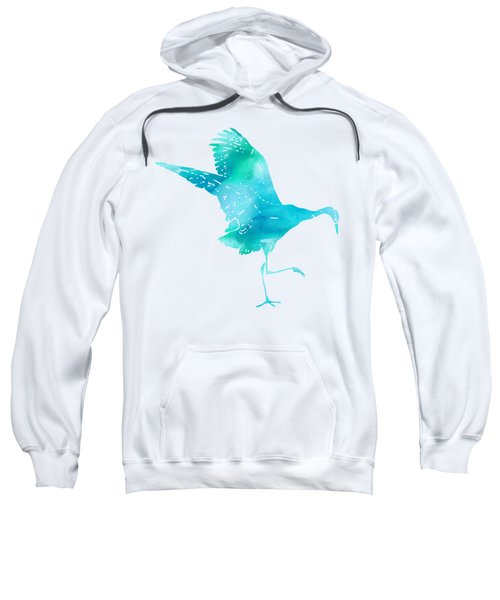 Crane Ready For Flight - Blue-green Watercolor Sweatshirt by Custom Home Fashions