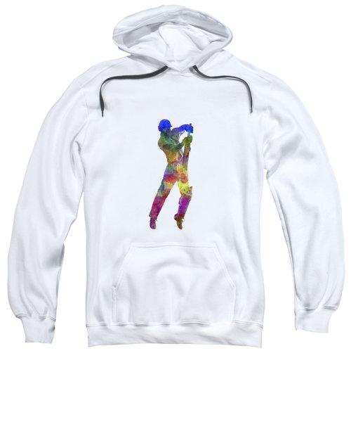 Cricket Player Batsman Silhouette 05 Sweatshirt by Pablo Romero