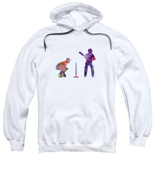 Cricket Player Silhouette Sweatshirt by Pablo Romero