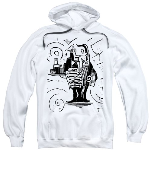 Cubist Waiter Sweatshirt by Erki Schotter