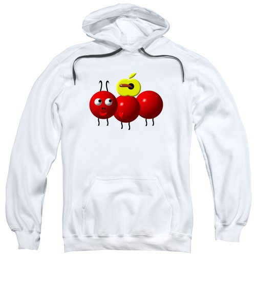 Cute Ant With An Apple Sweatshirt by Rose Santuci-Sofranko