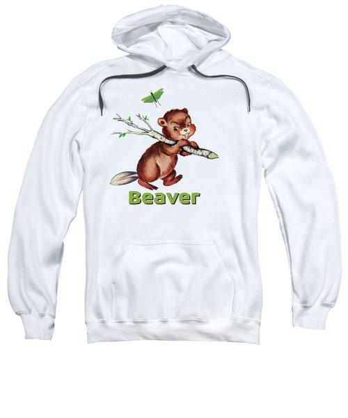 Cute Baby Beaver Pattern Sweatshirt by Tina Lavoie