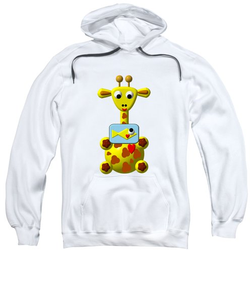 Cute Giraffe With Goldfish Sweatshirt by Rose Santuci-Sofranko