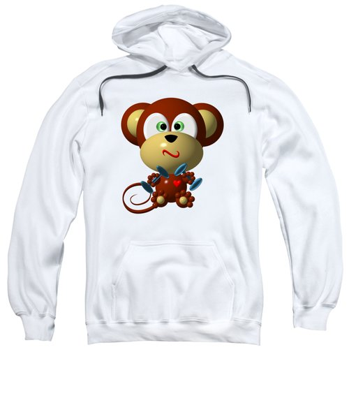 Cute Monkey Lifting Weights Sweatshirt by Rose Santuci-Sofranko