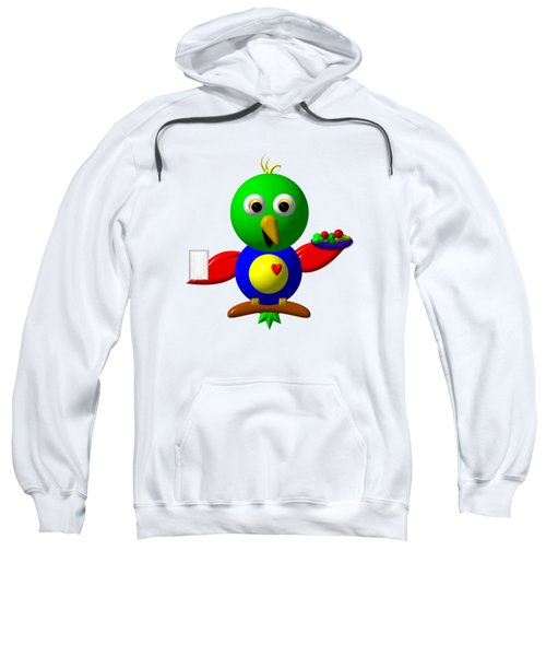 Cute Parrot With Healthy Salad And Milk Sweatshirt by Rose Santuci-Sofranko