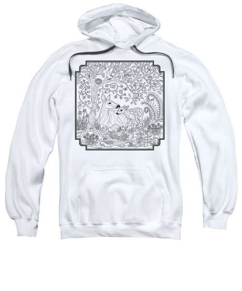 Deer Fantasy Forest Coloring Page Sweatshirt by Crista Forest