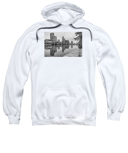 Downtown Austin In Black And White Across Lady Bird Lake - Colorado River Texas Hill Country Sweatshirt by Silvio Ligutti
