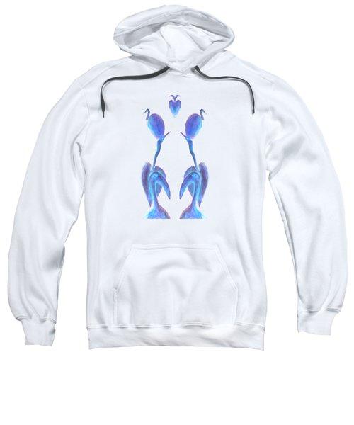 Egrets On White Sweatshirt by Geckojoy Gecko Books