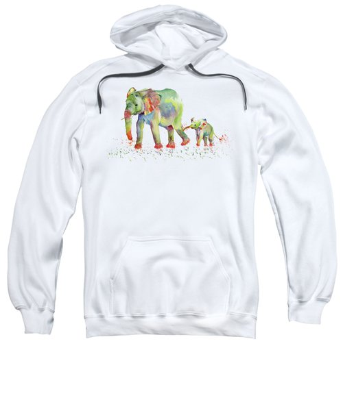 Elephant Family Watercolor  Sweatshirt by Melly Terpening