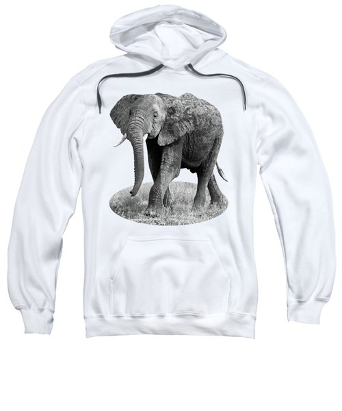 Elephant Happy And Free In Black And White Sweatshirt by Gill Billington