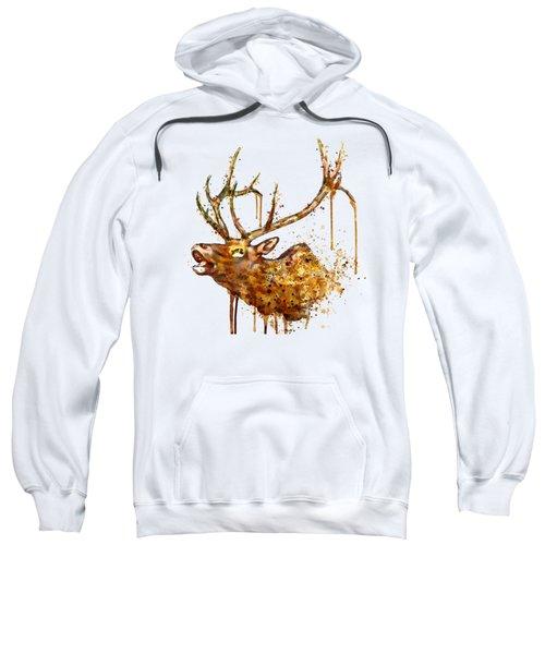 Elk In Watercolor Sweatshirt by Marian Voicu