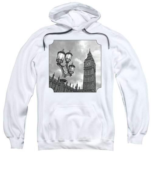 Evening Light At Big Ben In Black And White Sweatshirt by Gill Billington
