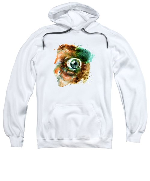 Fear Eye Watercolor Sweatshirt by Marian Voicu